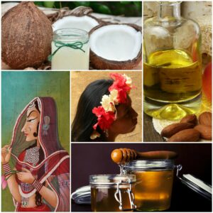 Indian women, coconut, honey, almond oil