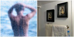 Bathroom, man having a shower.