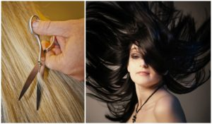 Hair trimming and a woman with black, floating hair.
