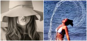A woman in summer hat and another in the water with wet hair.