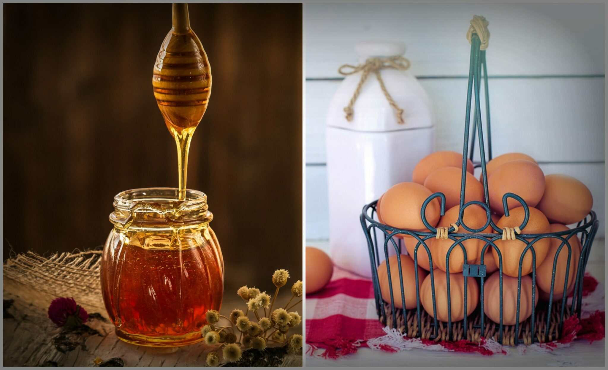 Honey in jar and eggs in metal basket.