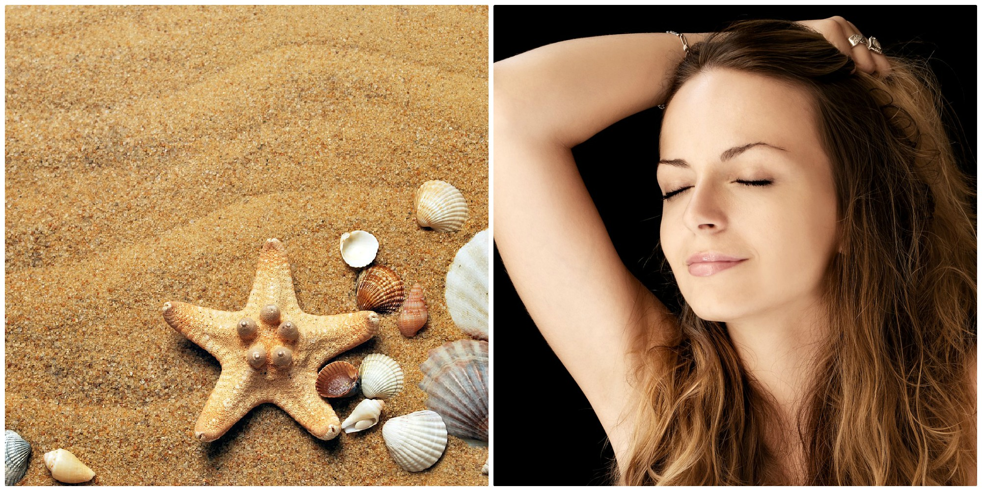 Sand, seashells, starfish and an ombre-haired woman smiles with closed eyes.