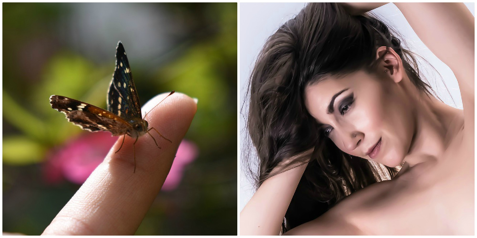 Butterfly on a finger and a long, brown-haired woman lifts her hair.