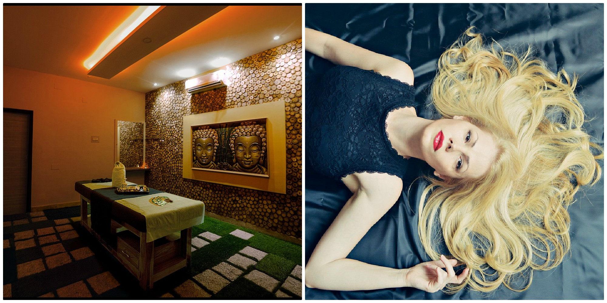 Massage salon and a blond, long-haired woman lies on blue bedspread.