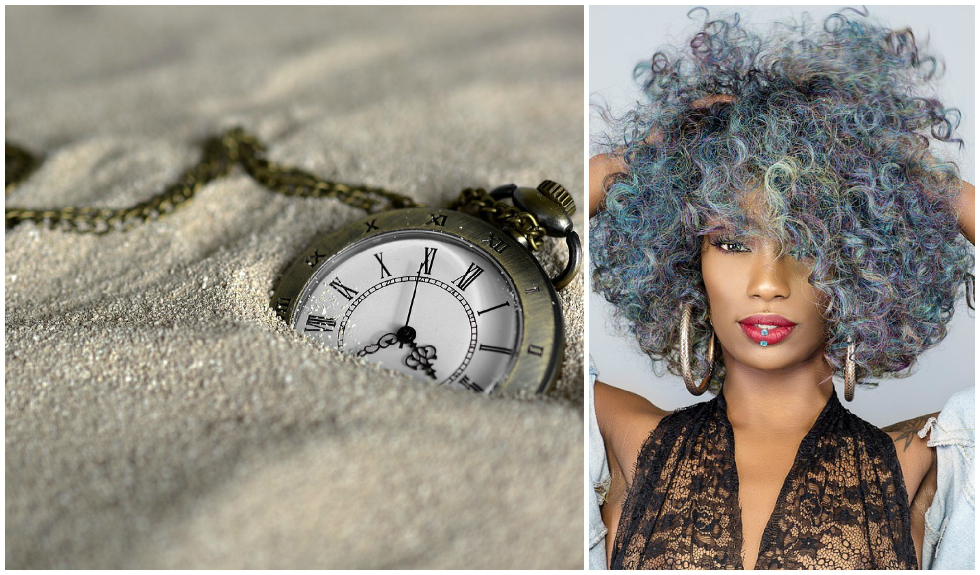 A pocket watch in the sand and a woman with big, curly hair in several colours.