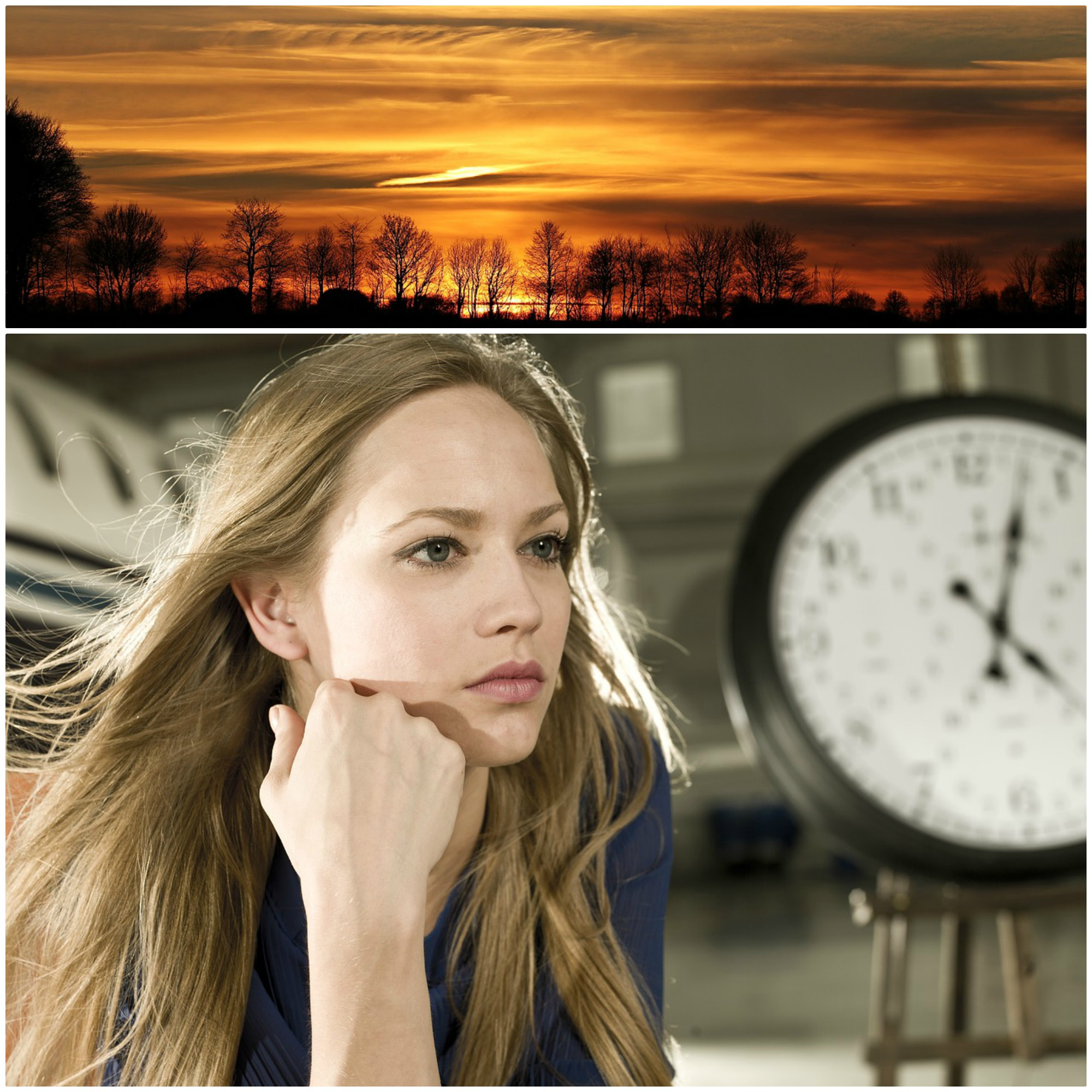 Sunrise and a blond long-haired woman next to a big clock.