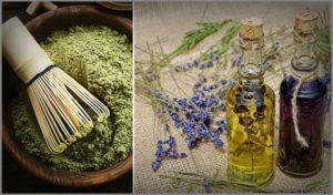 Henna dye and essential oils.