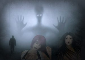 Silhouette of a ghost and women in halloween make-up.