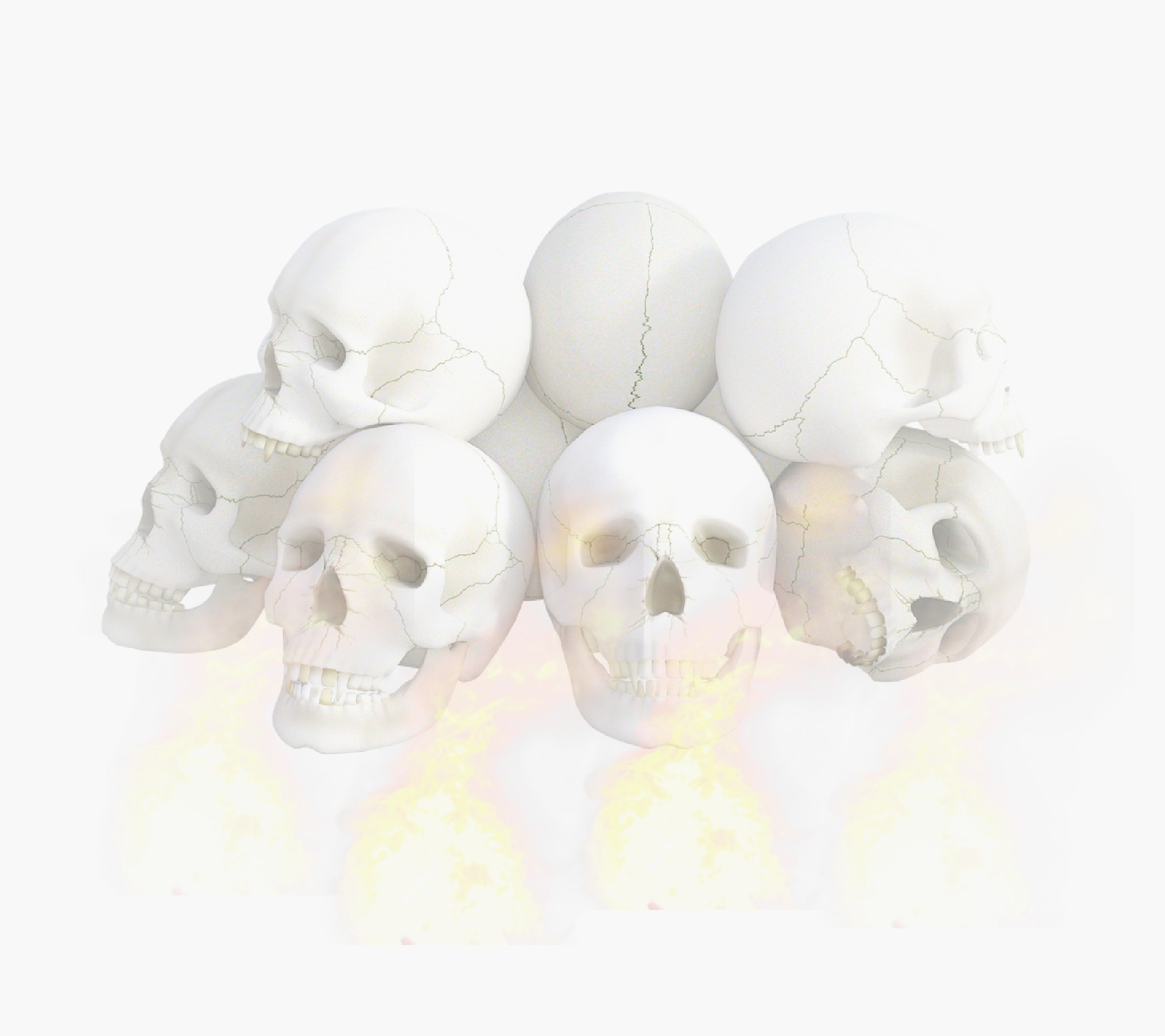 Skulls and light fire.
