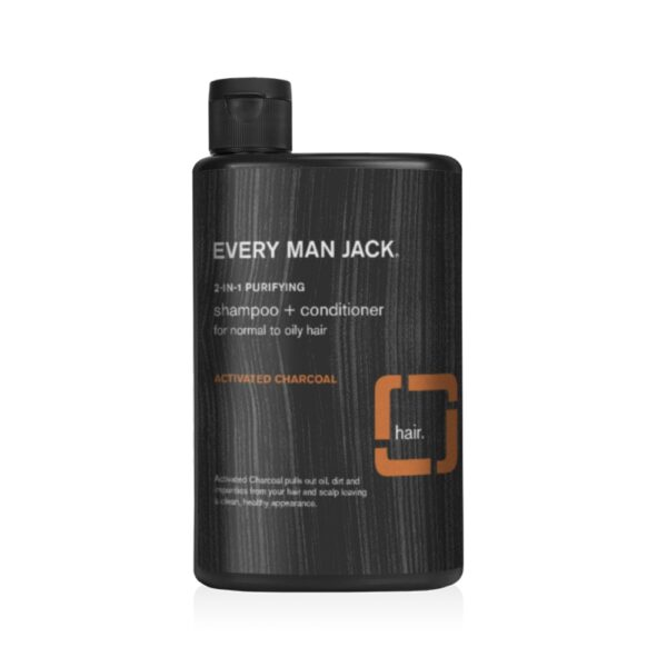 A bottle of shampoo and conditioner with activated charcoal